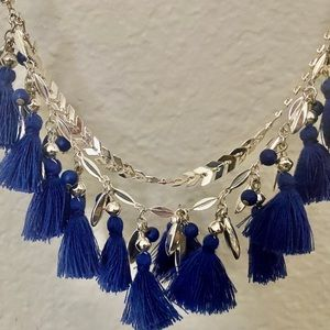 Blue and Silver Fringe Statement Necklace